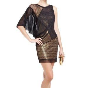 BCBGMaxAzria Mila black & gold asymmetrical dress